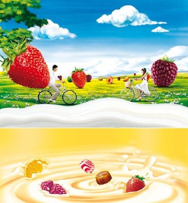 PSD templates (yogurt, milk, fruit)